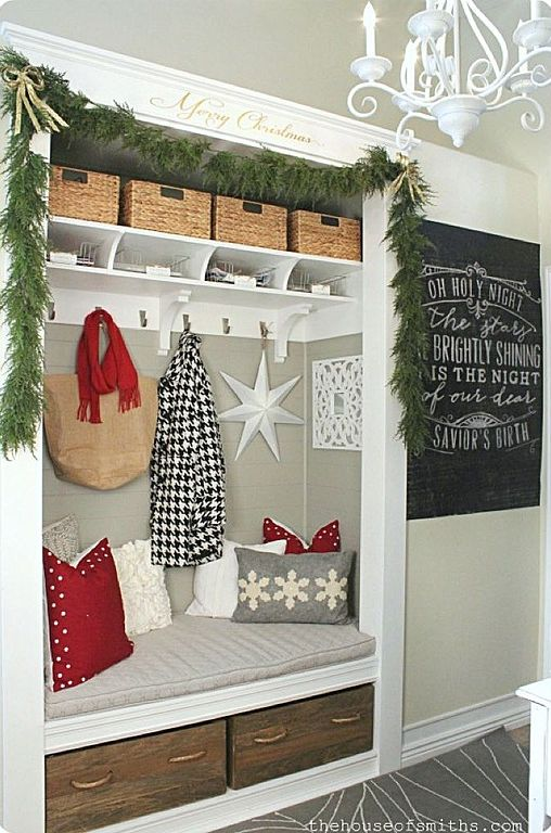 Country Entryway with Away Up North Decorative Balsam Snowflake Pillow, Built-in bookshelf, Christmas decor, Chandelier