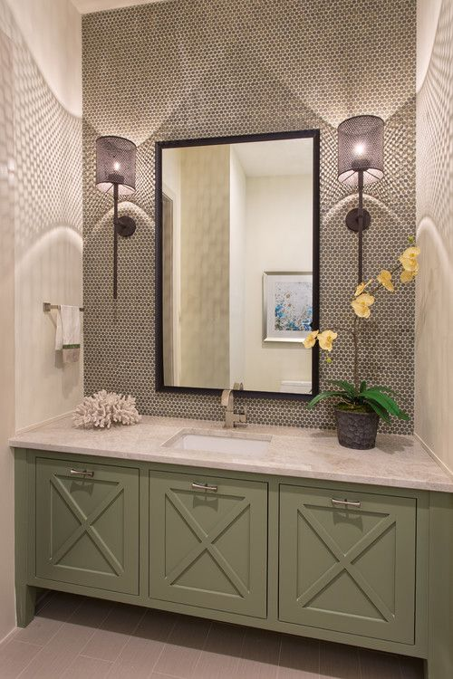 Contemporary Powder Room With Flat Panel Cabinets