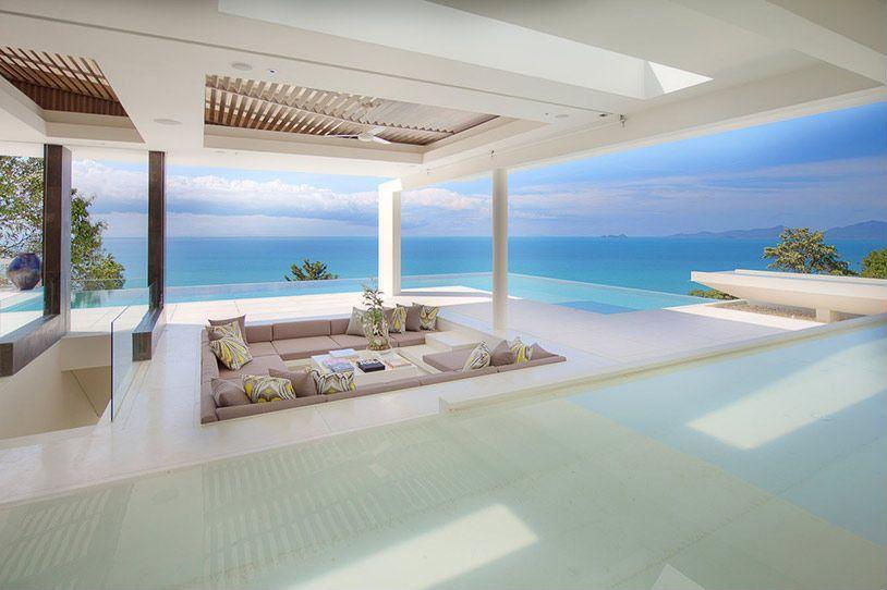 "Contemporary Patio with exterior tile floors, Jackson ""u"" shaped sectional sofa, Trellis, Infinity pool, Deck Railing"