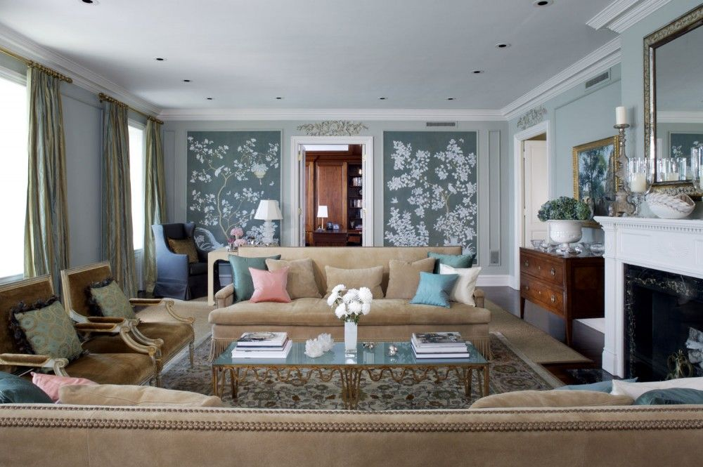 Traditional Living Room with Fireplace, can lights, specialty window, Laminate floors, High fashion home:  pierce sofa, Paint