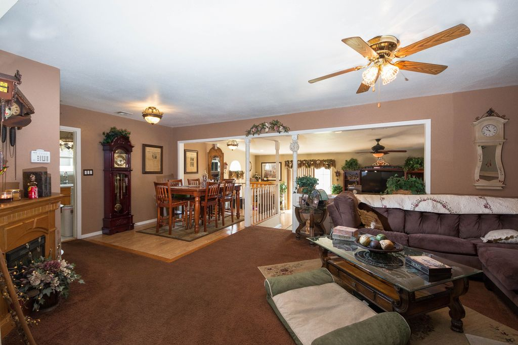 Traditional Living Room with Ceiling fan, Fireplace, Columns, Standard height, Cement fireplace, Carpet