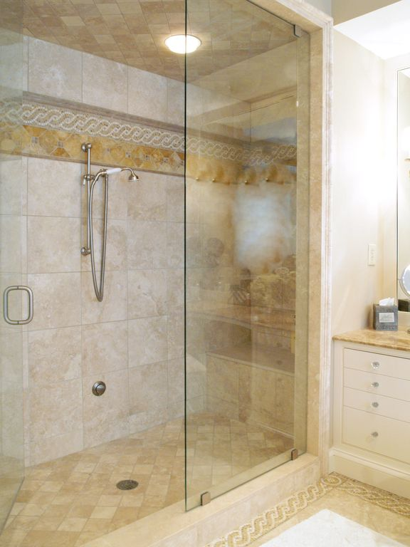 Traditional Master Bathroom with Paint, Ivory Travertine 4MS International Honed And Beveled Travertine Tile