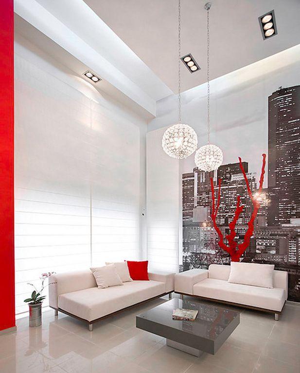 Modern Living Room with PLC Lighting Martini Globe Pendant, Johnathan Adler Lacquer Block Coffee Table, interior wallpaper