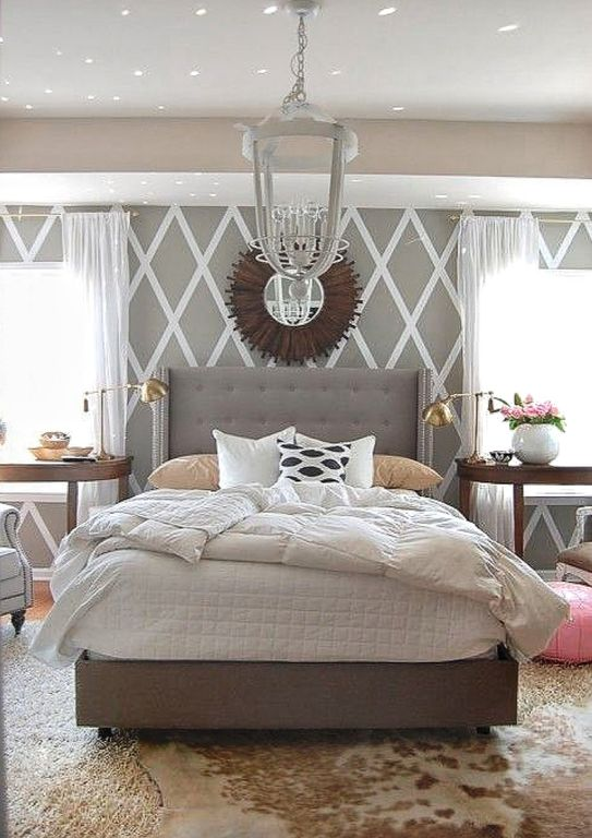 Eclectic Master Bedroom with Paint, Skyline - furniture wingback bed, Uttermost - vermundo mirror, West elm - cowhide rug