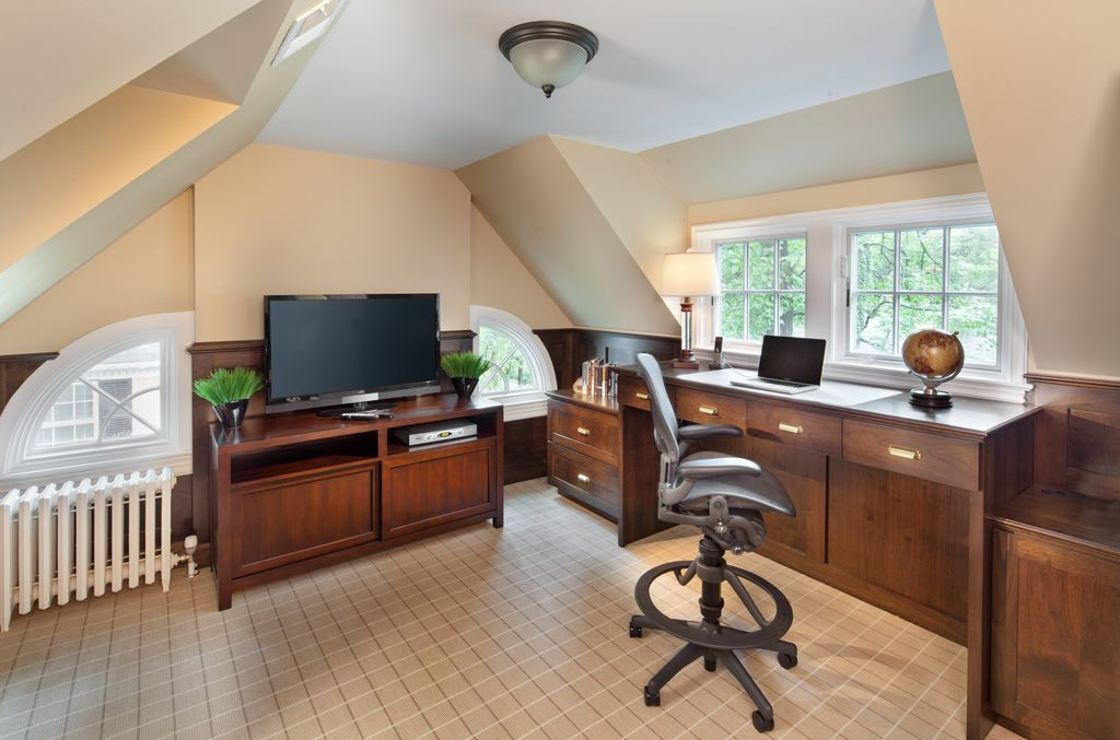 "Traditional Home Office with Highland Plaid 22601, flush light, Wainscotting, Moore 60"" Media Console, Carpet"