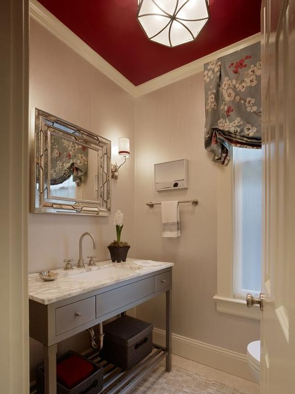 Contemporary Powder Room with Console sink, Complex marble counters, Standard height, flush light, Powder room, Flush
