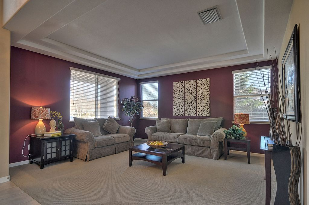 Traditional Living Room with Casement, Standard height, Carpet, double-hung window