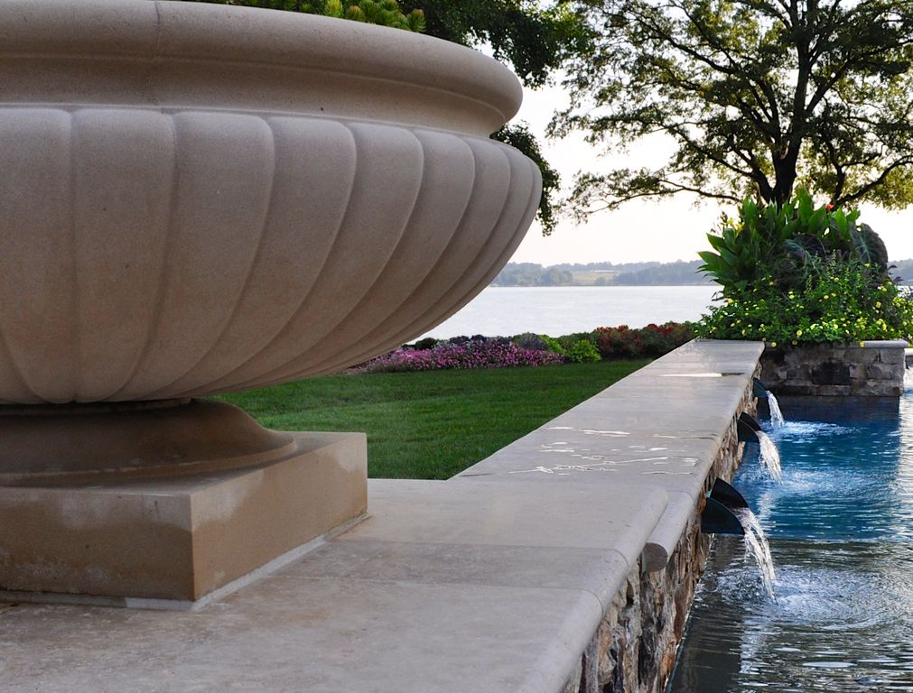 Traditional Swimming Pool with Raised beds, Other Pool Type, exterior stone floors, Pathway, Fountain