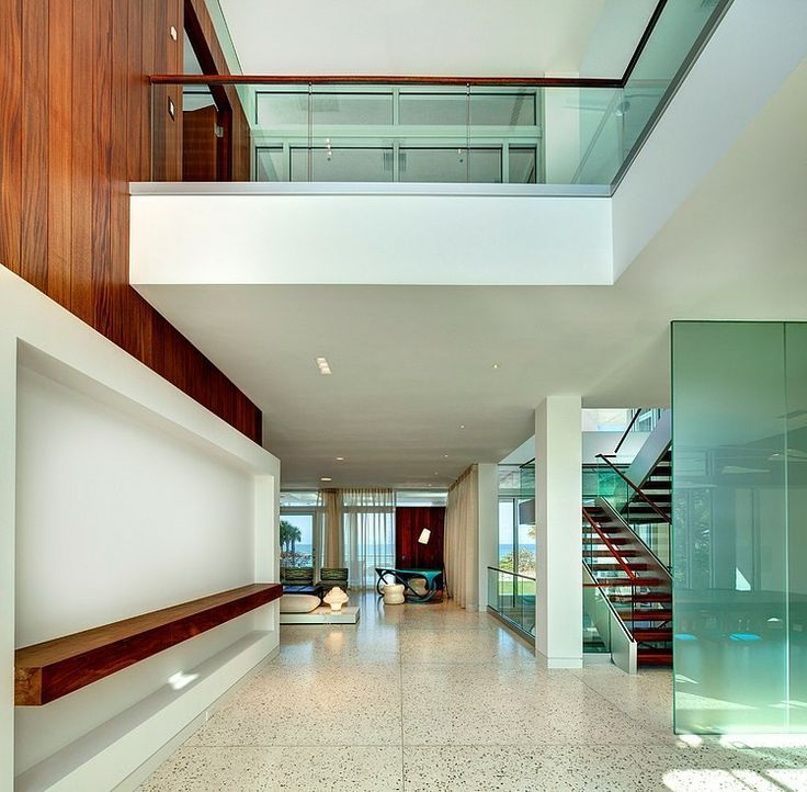 Contemporary Entryway with Balcony, Columns, simple granite tile floors, High ceiling