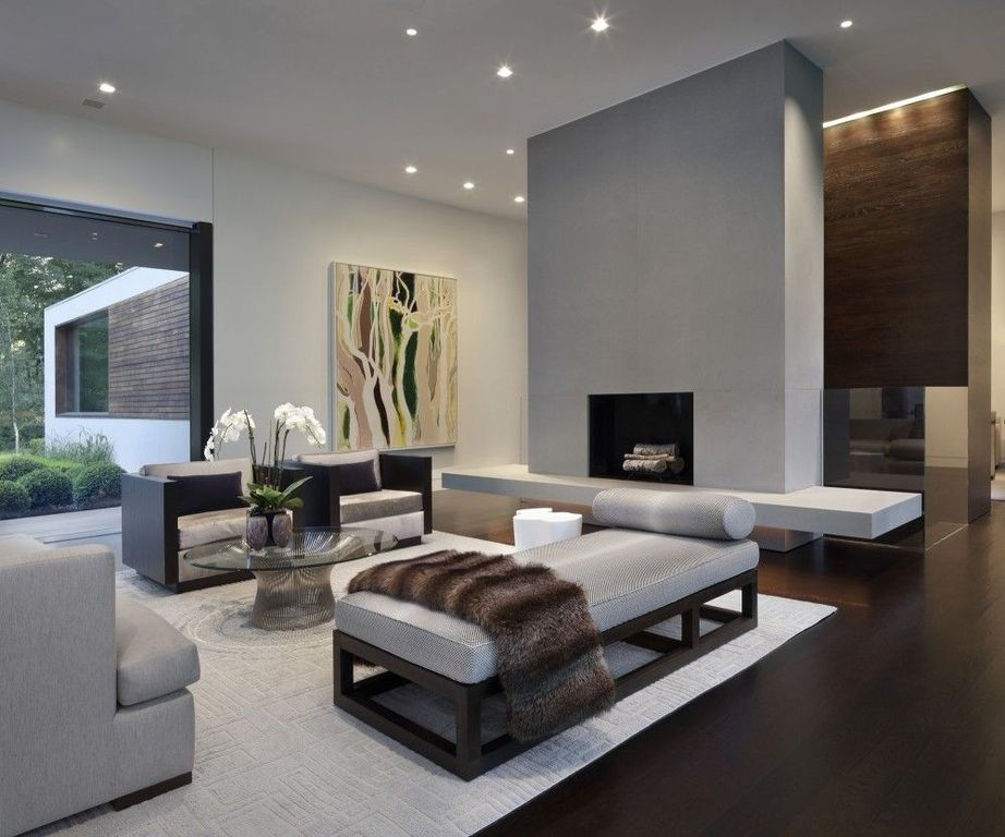 Contemporary Living Room with Standard height, Crown molding, can lights, Fireplace, picture window, insert fireplace