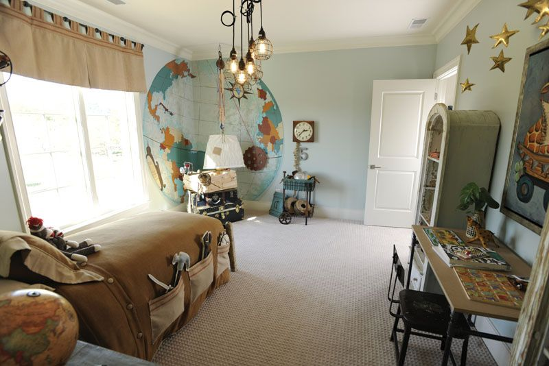 Traditional Kids Bedroom with specialty door, Crown molding, Pendant light, Pottery Barn, PAXTON GLASS 3-LIGHT PENDANT, Mural