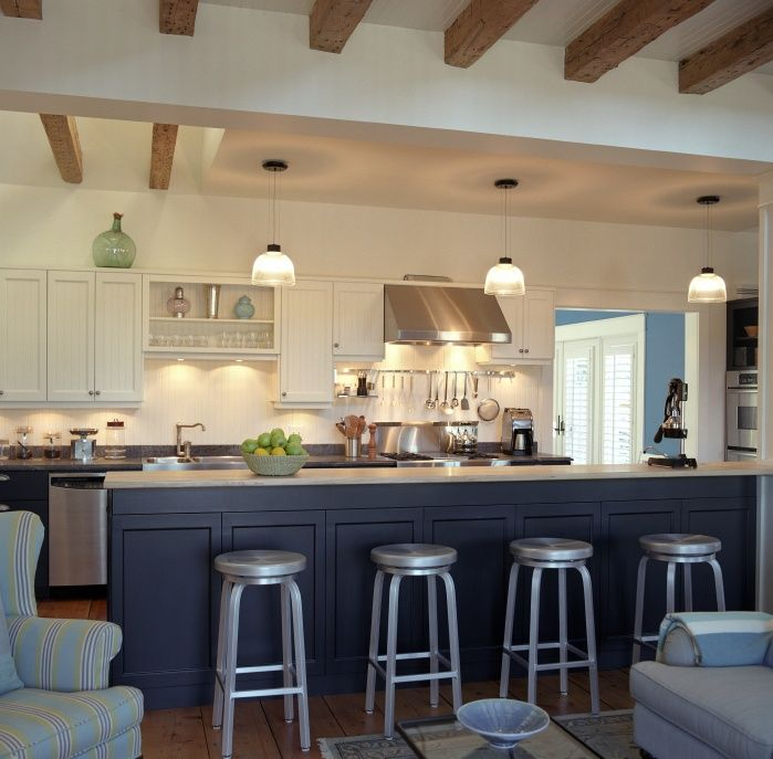 Contemporary Kitchen with can lights, Paint, Flat panel cabinets, Avatex furniture miller bar stool-aluminum, gas range