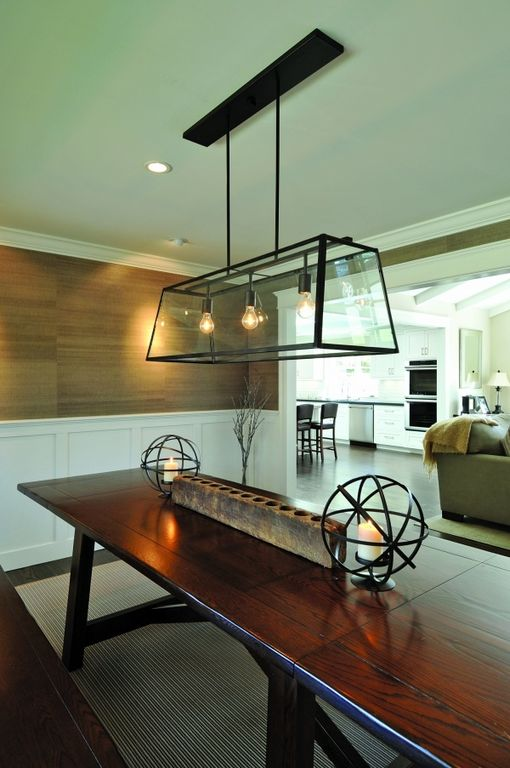 Eclectic Dining Room with Hardwood floors, Pendant light, Crown molding, interior wallpaper, Benchwright Bench, can lights
