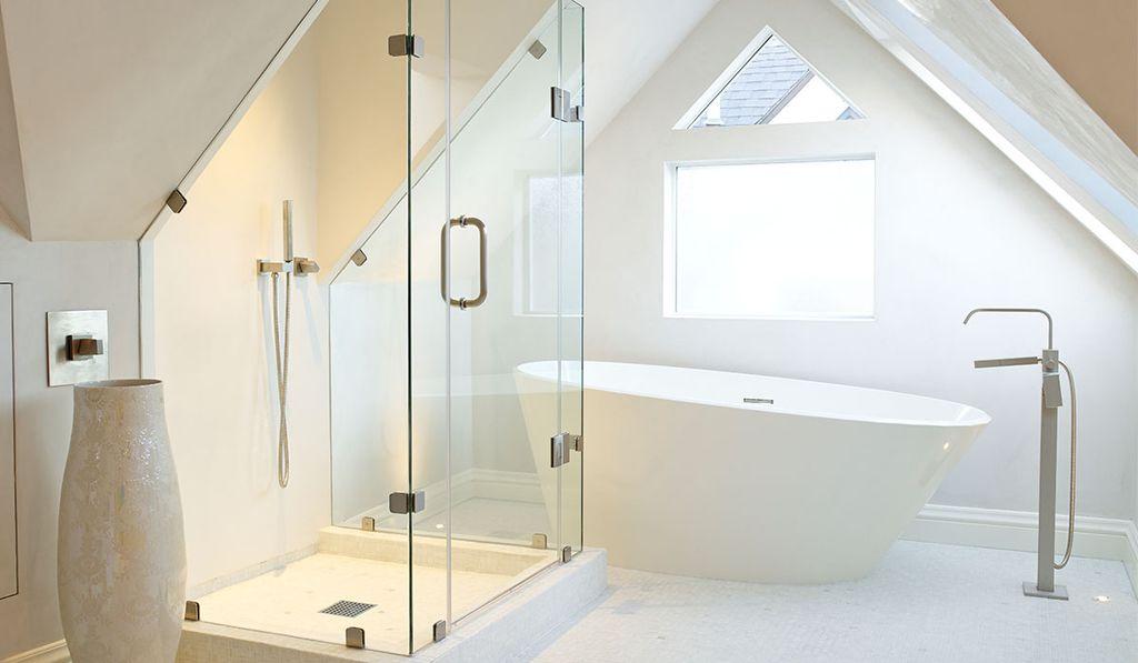 Contemporary Master Bathroom with Shower, Bathtub, frameless showerdoor, can lights, ceramic tile floors, Master bathroom
