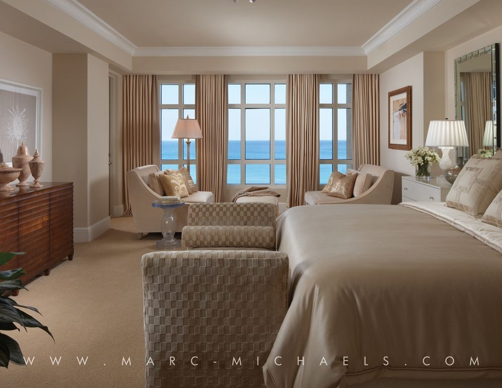 Traditional Master Bedroom with Atlantic ocean view, Standard height, Built-in bookshelf, Paint, Recessed ceiling, Paint 2