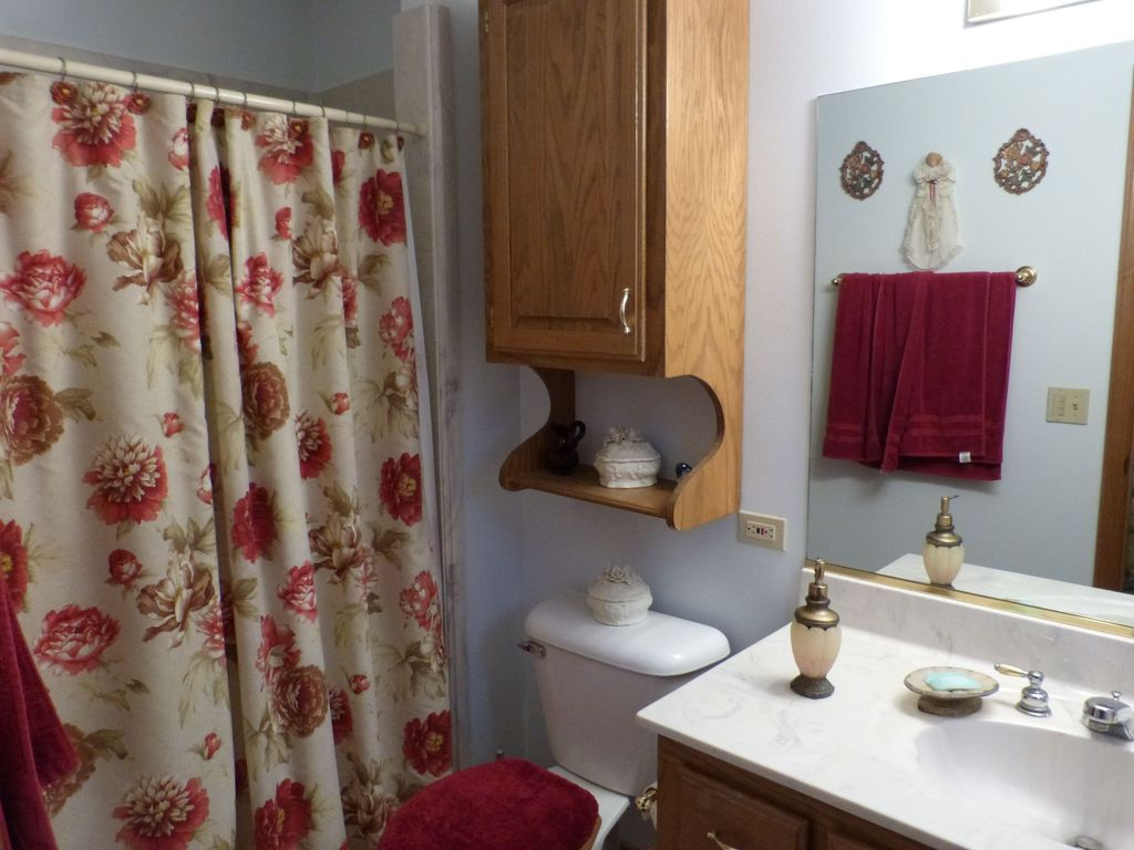 Country Full Bathroom with Bathtub, Full Bath, Standard height, Shower, Undermount sink, Inset cabinets, shower bath combo
