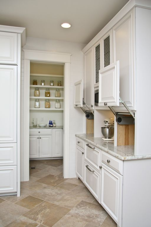 Traditional Kitchen with Vertical lift cabinet door appliance garage, Dura Supreme Cabinetry Oxford Classic, Raised panel