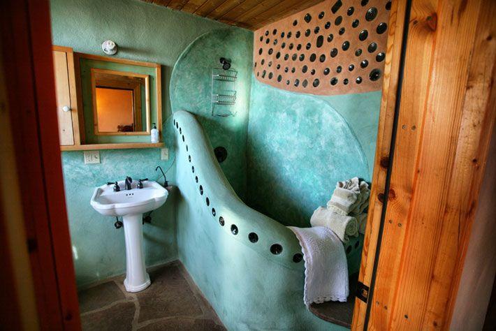 Eclectic Full Bathroom with slate floors, European Cabinets, Pedestal sink, Full Bath, Shower, Flush, Built-in bookshelf
