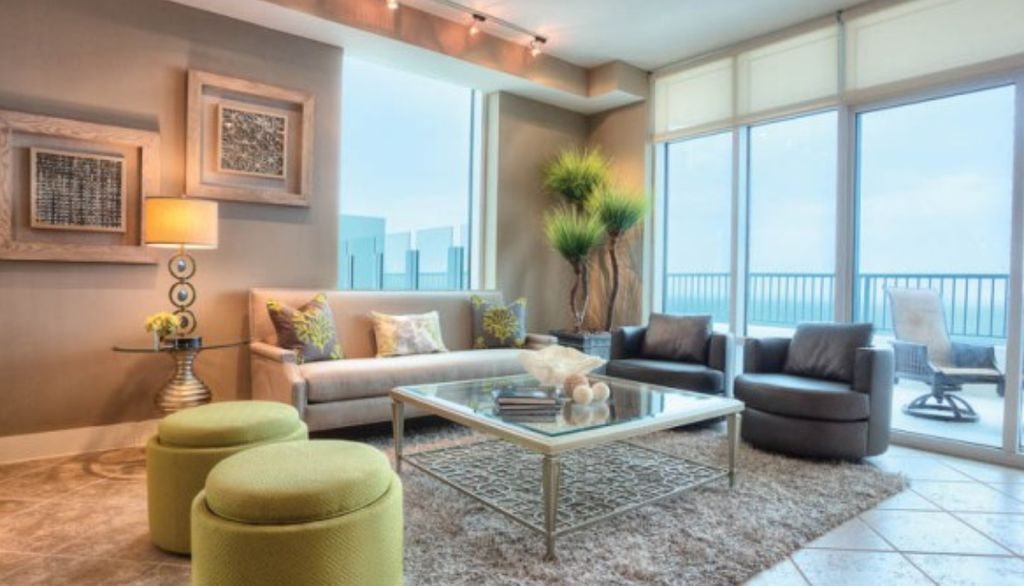Contemporary Living Room with travertine tile floors, flush light, picture window, Standard height, stone tile floors