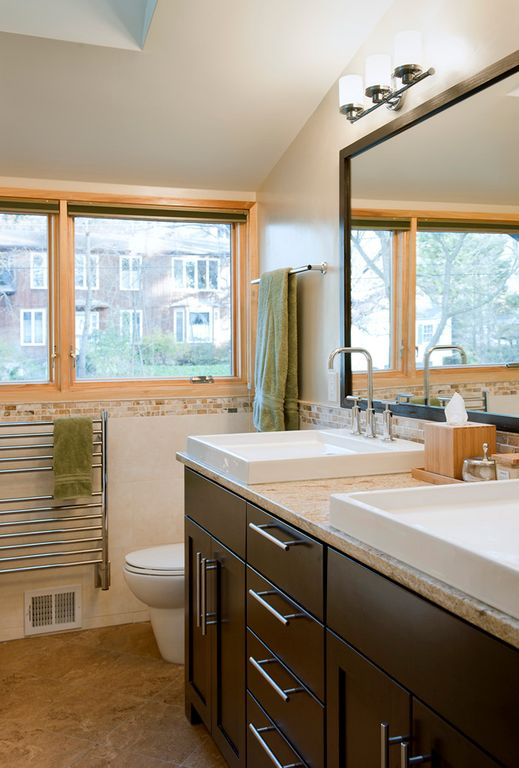 Contemporary Full Bathroom with Double sink, Flush, Vessel sink, Ivory Fantasy, High ceiling, Flat panel cabinets, Skylight