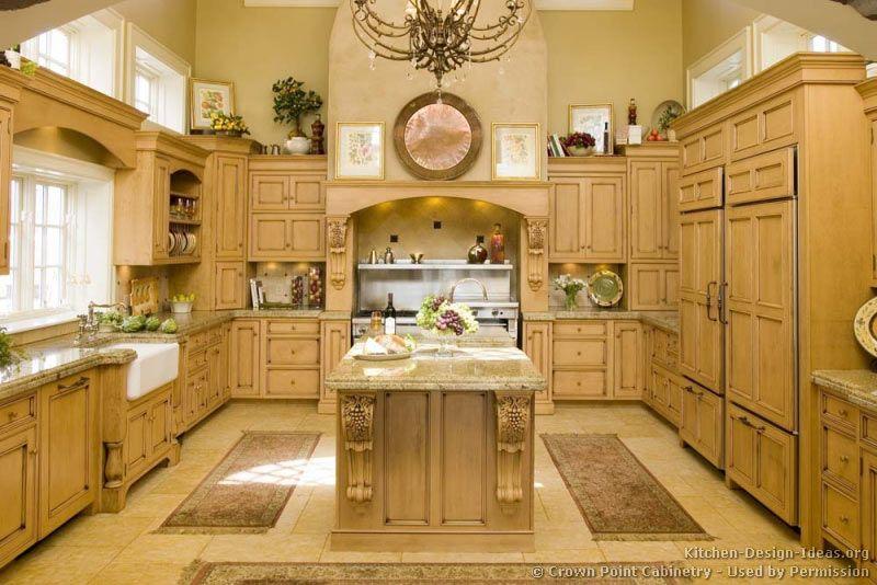Mediterranean Kitchen with U-shaped, Large Ceramic Tile, Farmhouse sink, Custom hood, Chandelier, full backsplash, gas range