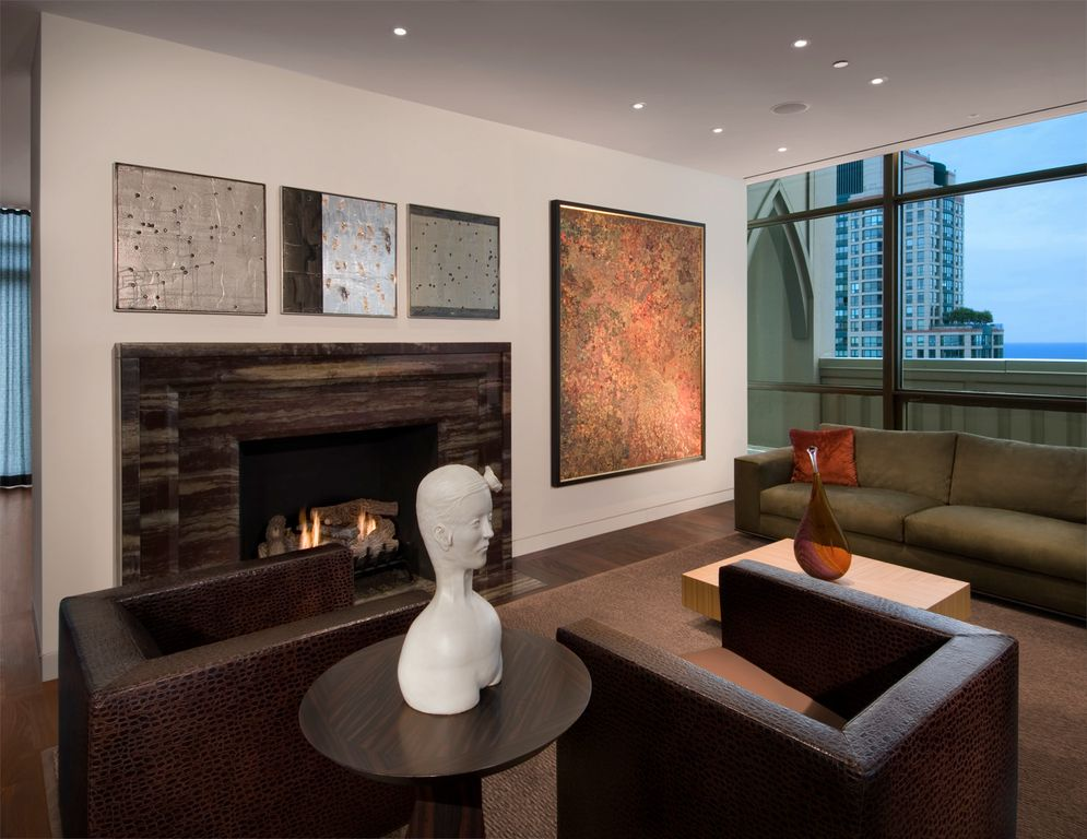 Contemporary Living Room with Fireplace, Standard height, specialty window, other fireplace, can lights, Hardwood floors