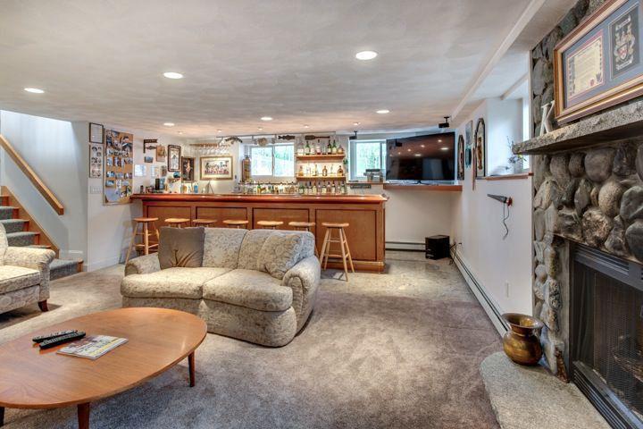 Rustic Bar with Carpet, Standard height, Built-in bookshelf, Casement, can lights