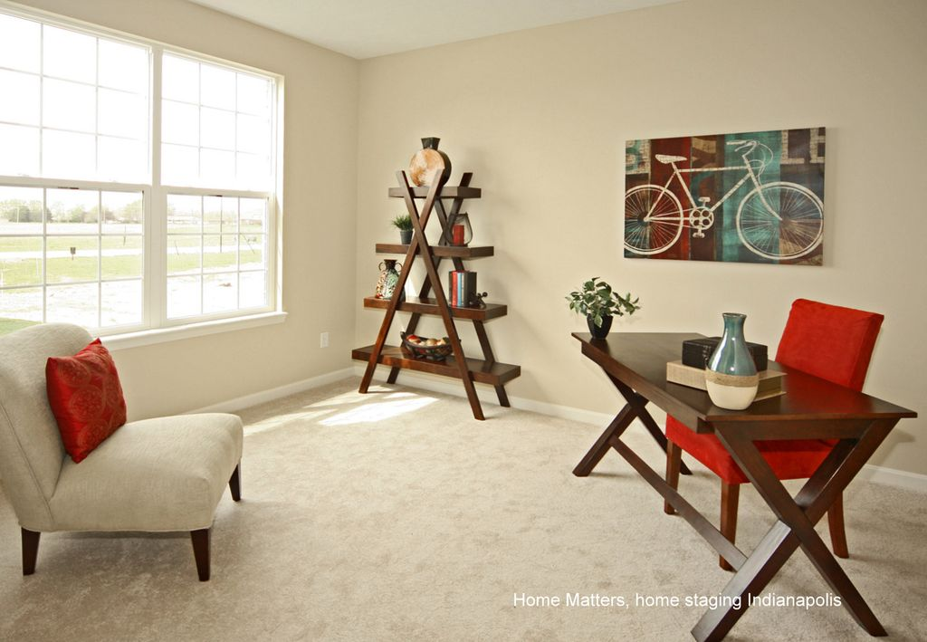 Contemporary Home Office with Carpet, Standard height, double-hung window
