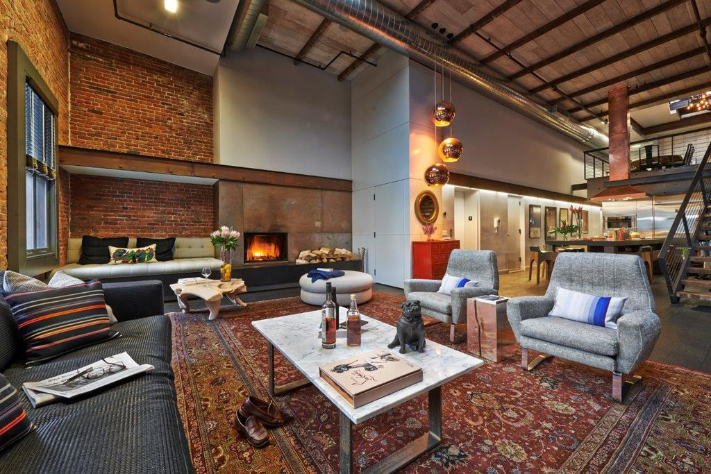 Modern Living Room with can lights, Fireplace, High ceiling, Exposed beam, Casement, Pendant light, insert fireplace