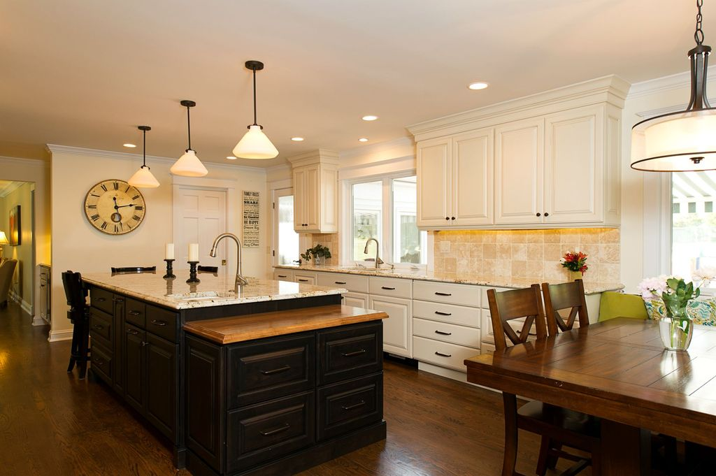 Contemporary Kitchen with full backsplash, six panel door, can lights, Framed Partial Panel, One-wall, French doors, Casement