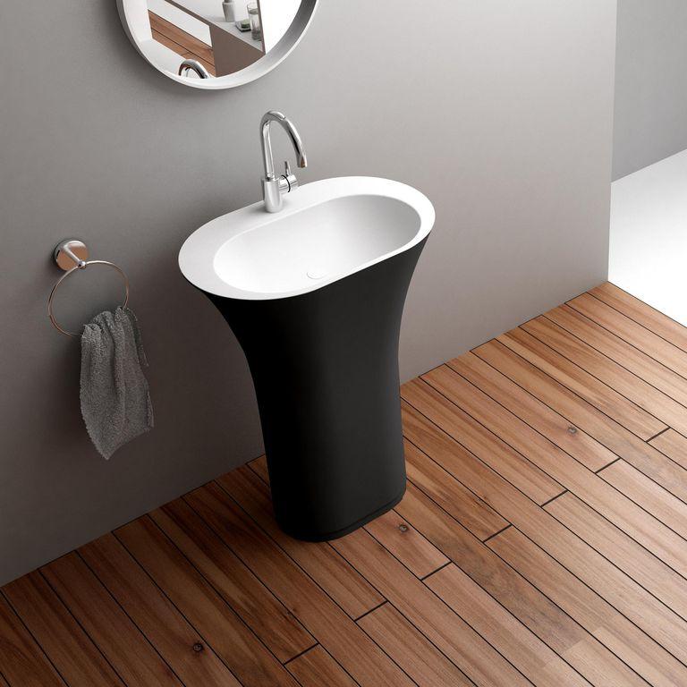 Contemporary Master Bathroom with Paint, Hardwood floors, Powder room, Standard height
