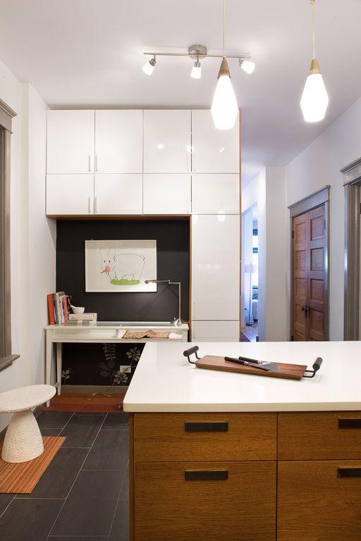 Contemporary Home Office with Standard height, French doors, stone tile floors, flush light, soapstone tile floors