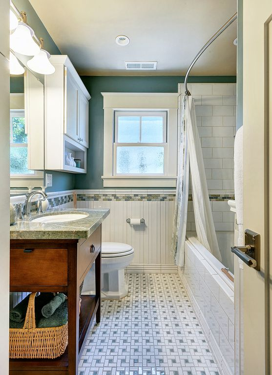 Cottage Full Bathroom with Bathtub, Standard height, Flush, Flat panel cabinets, Paint, Glass tile mosaic border, Wall Tiles