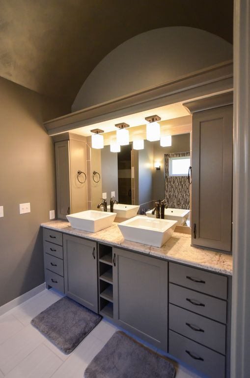 Contemporary Master Bathroom with Ms international tuscany clasic travertine, Double sink, Paint 1, Vessel sink, Wall sconce