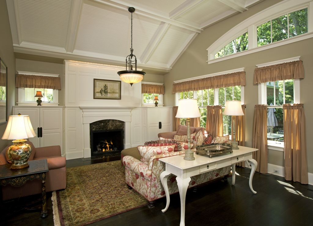 Traditional Living Room with picture window, Pendant light, Casement, Box ceiling, Hardwood floors, double-hung window