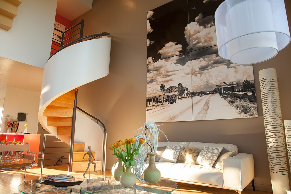 Contemporary Staircase with Spiral staircase, Hardwood floors, High ceiling