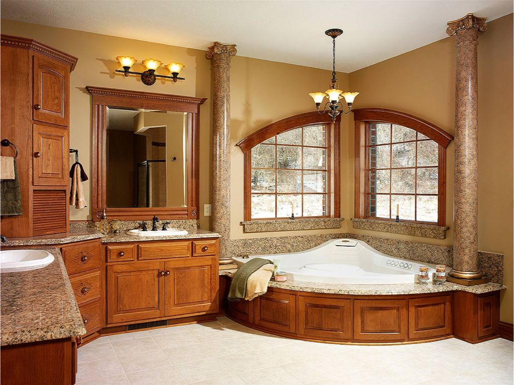 Traditional Master Bathroom with Double sink, stone tile floors, drop in bathtub, framed showerdoor, Shower, Standard height
