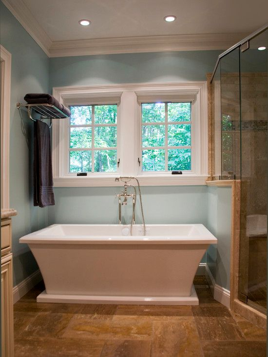 Traditional Master Bathroom with Crown molding, Master bathroom, Paint 1, stone tile floors, Standard height, Shower, Paint 2