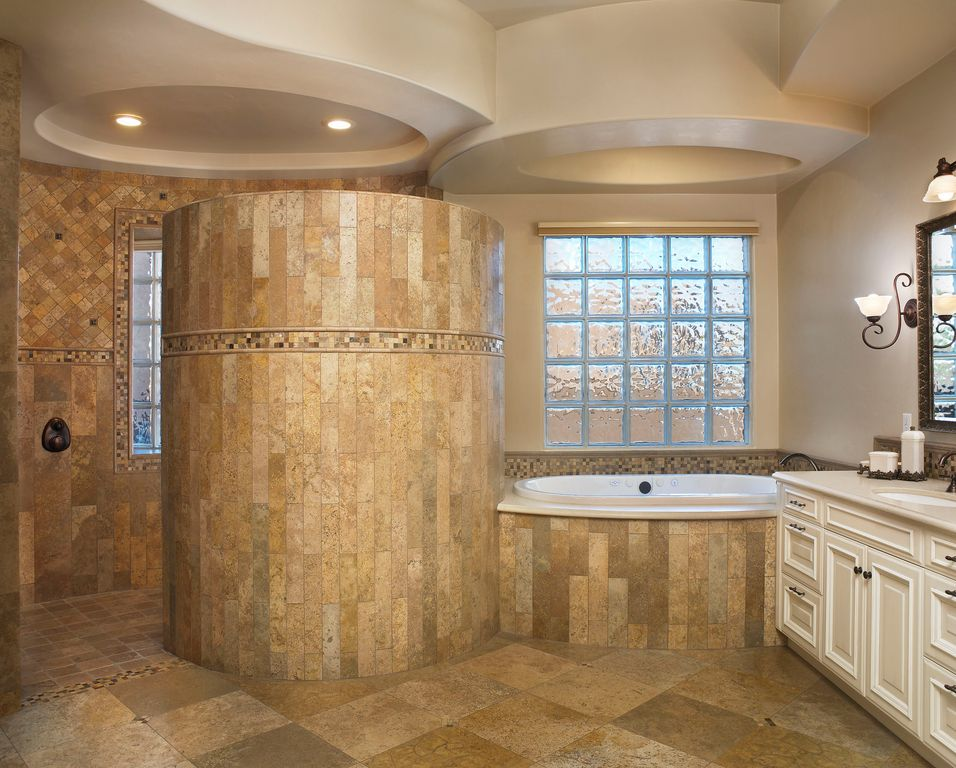 Traditional master bathroom with corian counters by for Bathroom ideas zillow