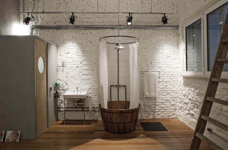 Eclectic 3/4 Bathroom with Freestanding, Rain shower, Hardwood floors, Sauna, Wall Tiles, three quarter bath, Standard height