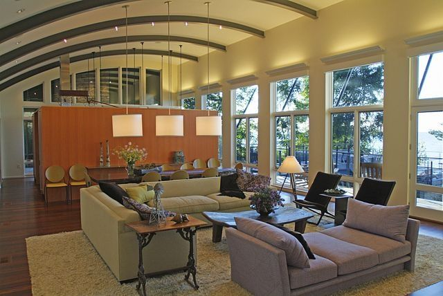 Contemporary Great Room with Hardwood floors, Exposed beam, Pendant light, Casement, picture window, can lights, High ceiling