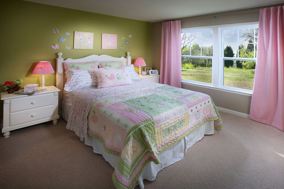 Traditional Guest Bedroom with double-hung window, Carpet, Standard height