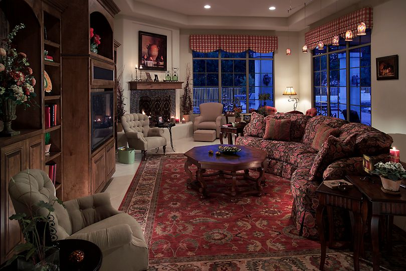 Traditional Living Room with Pendant light, insert fireplace, limestone tile floors, stone tile floors, Casement, can lights