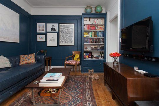 room with Dumont media console, Industrial coffee table, Gordon tufted sofa, Gallery wall