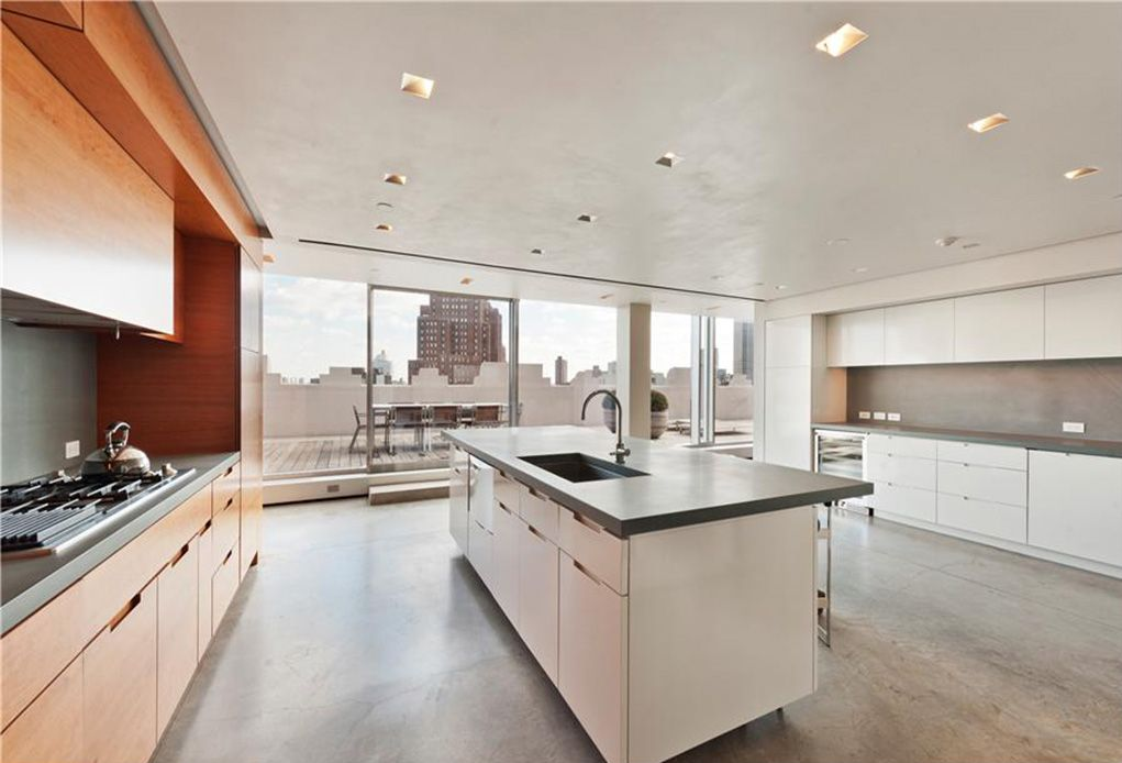 Contemporary Kitchen with Flush, electric cooktop, specialty door, Soapstone, Undermount sink, Kitchen island, can lights