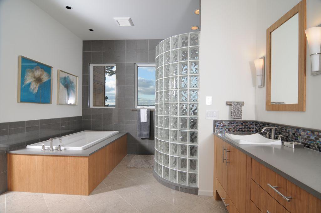 Modern Master Bedroom with Casement, stone tile floors, sandstone tile floors, Standard height, can lights, flush light