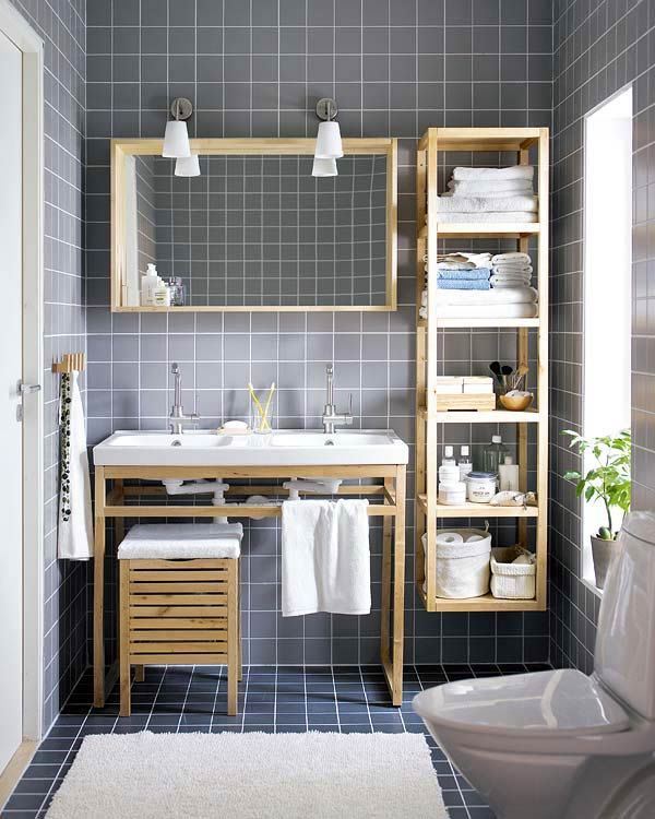 Contemporary 3/4 Bathroom with flat door, Wall Tiles, Standard height, large ceramic tile floors, Molger storage stool