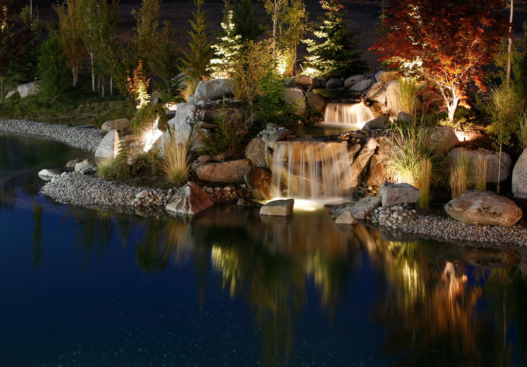Rustic Landscape/Yard with Pathway, Malibu low voltage led black 50w equivalent flood light, Pond, Fountain