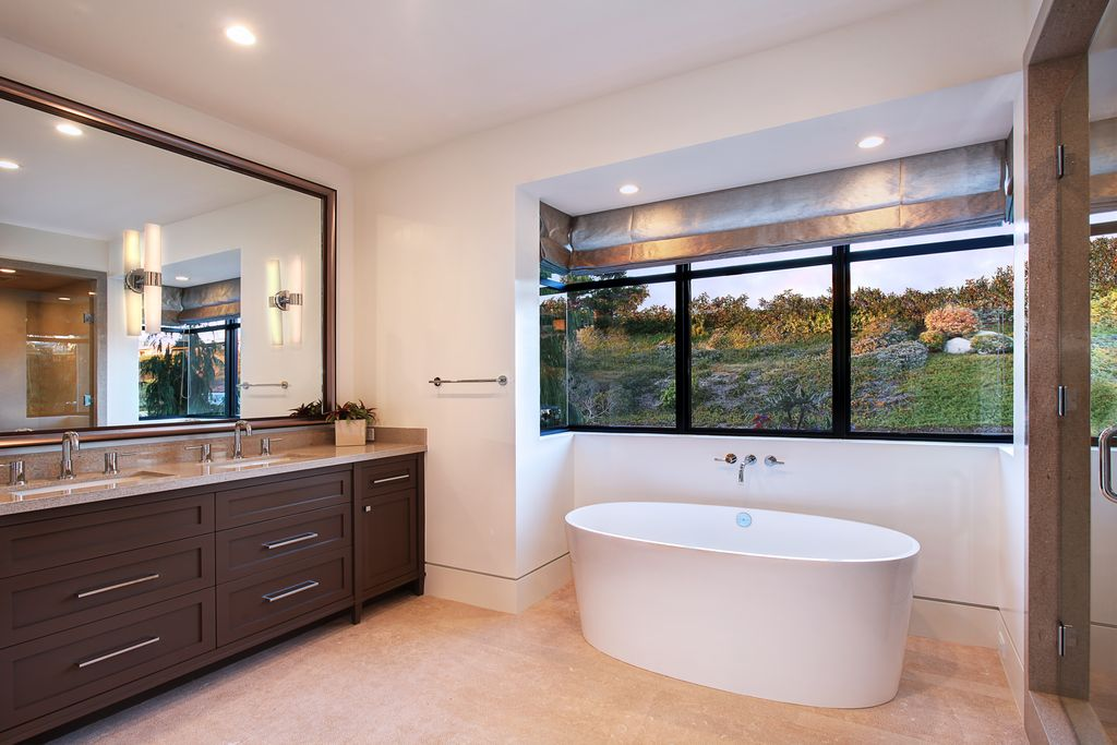 Contemporary Master Bathroom with Freestanding, wall-mounted above mirror bathroom light, Flat panel cabinets, can lights