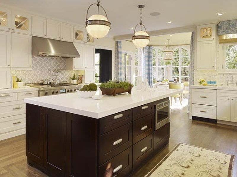 Traditional Kitchen with French doors, Flush, L-shaped, can lights, Large Ceramic Tile, Corian counters, full backsplash